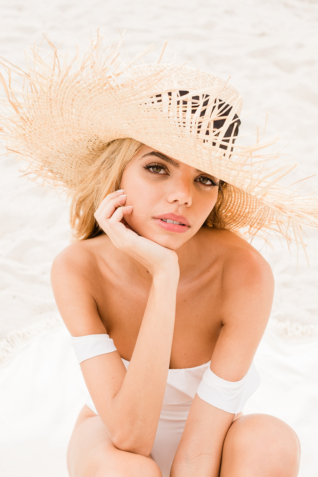 The Positano Beach Hat with Ribbon - The Beach Bride by Chic Parisien, a destination for beach weddings, bachelorettes and honeymoons