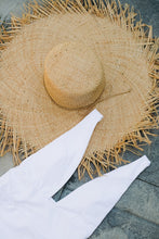 Load image into Gallery viewer, Turks Wide Brimmed Frayed Edge Sunhat - The Beach Bride by Chic Parisien, a destination for beach weddings, bachelorettes and honeymoons