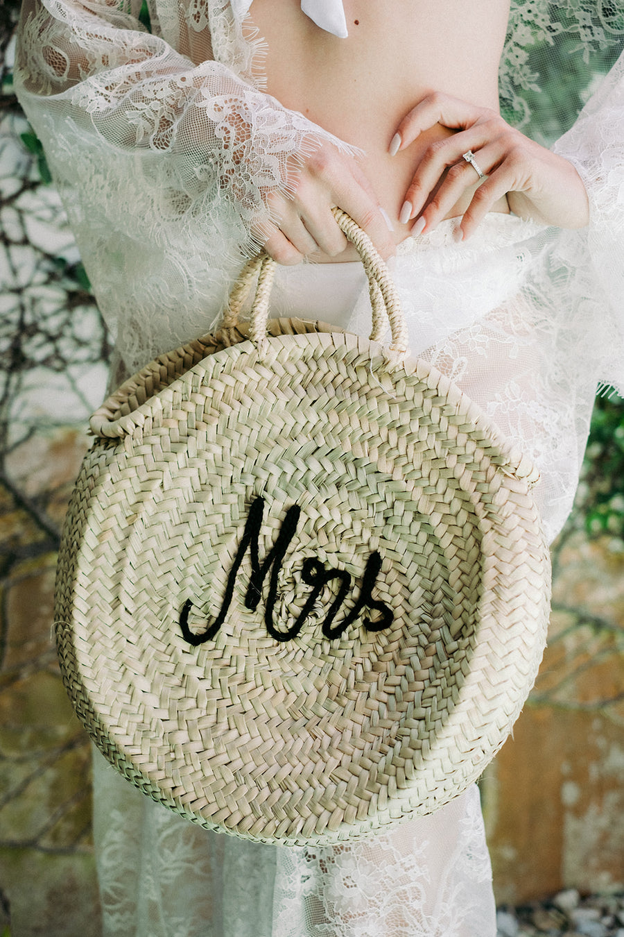 Roundie Straw Mrs Bag - The Beach Bride by Chic Parisien, a destination for beach weddings, bachelorettes and honeymoons