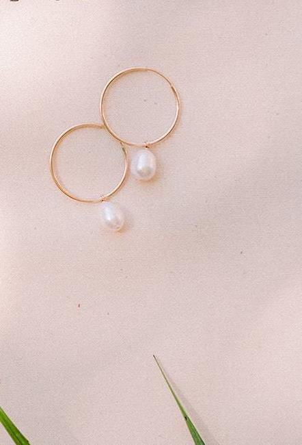 Drop Pearl Hoops by NST Studio - The Beach Bride by Chic Parisien, a destination for beach weddings, bachelorettes and honeymoons