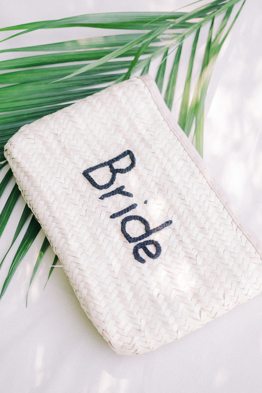 Bride Straw Oversized Wedding Clutch - The Beach Bride by Chic Parisien, a destination for beach weddings, bachelorettes and honeymoons