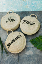 Load image into Gallery viewer, Roundie Straw Mrs Bag - The Beach Bride by Chic Parisien, a destination for beach weddings, bachelorettes and honeymoons