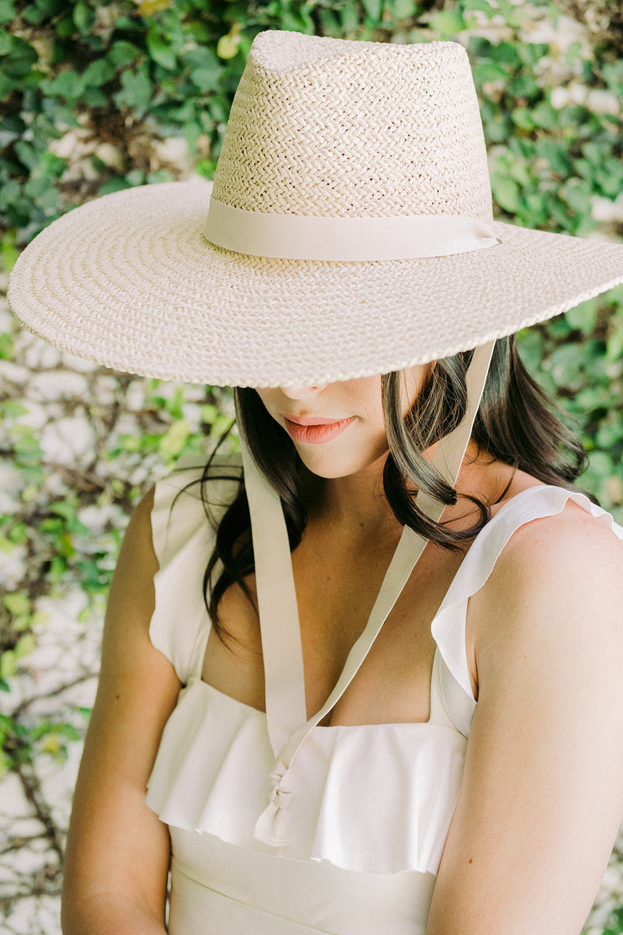 Chinstrap Jules Sunhat with White Ribbon - The Beach Bride by Chic Parisien, a destination for beach weddings, bachelorettes and honeymoons