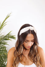 Load image into Gallery viewer, Velvet Top Knot Headband with Pearls - The Beach Bride by Chic Parisien, a destination for beach weddings, bachelorettes and honeymoons