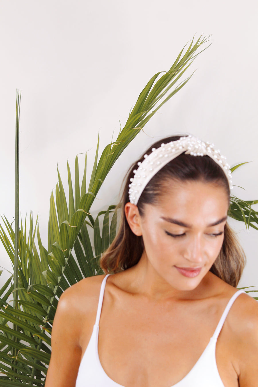 Velvet Top Knot Headband with Pearls - The Beach Bride by Chic Parisien, a destination for beach weddings, bachelorettes and honeymoons