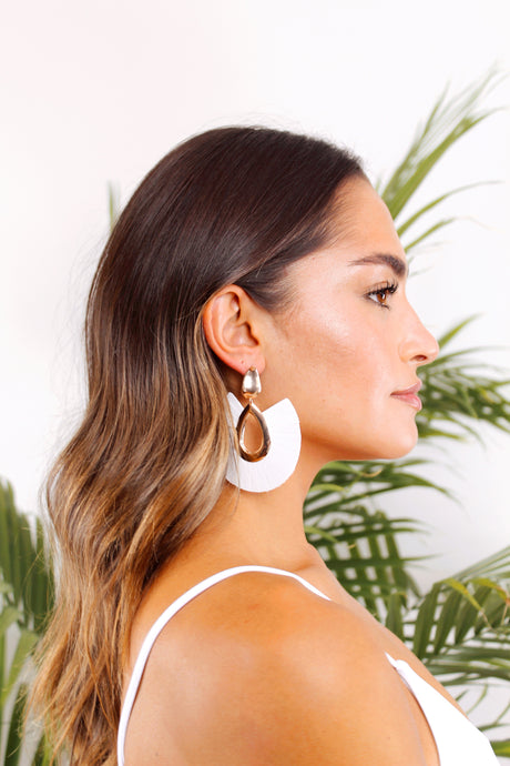 bondi beach white leather tassel earrings - The Beach Bride by Chic Parisien, a destination for beach weddings, bachelorettes and honeymoons