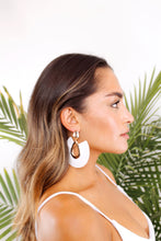 Load image into Gallery viewer, bondi beach white leather tassel earrings - The Beach Bride by Chic Parisien, a destination for beach weddings, bachelorettes and honeymoons