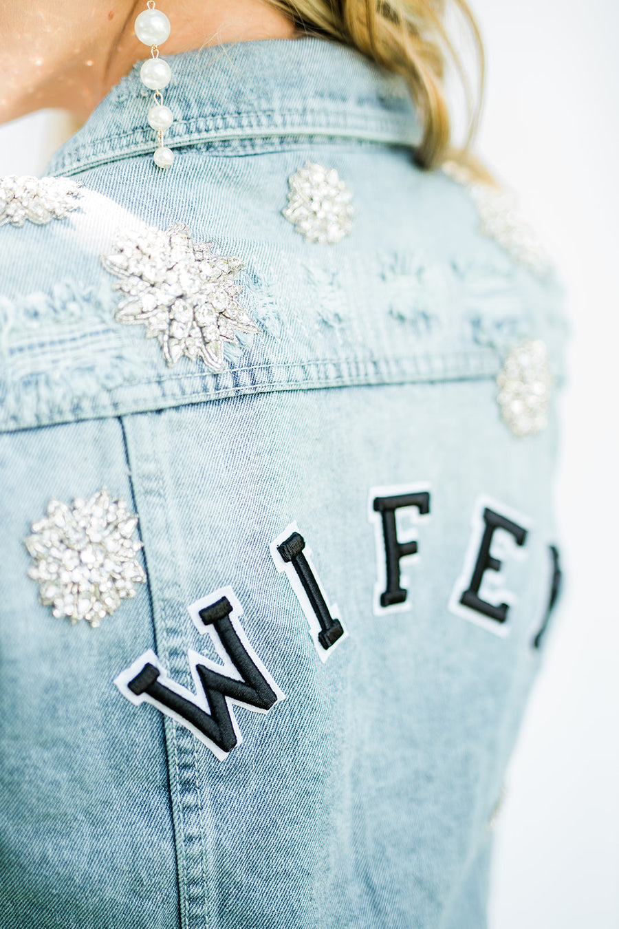 Wifey Denim Jacket- Chosen by One Day - The Beach Bride by Chic Parisien, a destination for beach weddings, bachelorettes and honeymoons