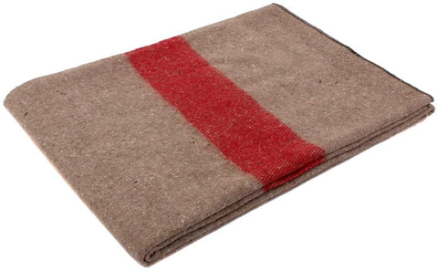 Swiss Style Wool Blanket, Tan/Red Stripe