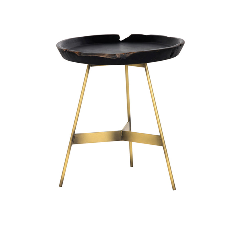 crown and birch black wood montana side table front
