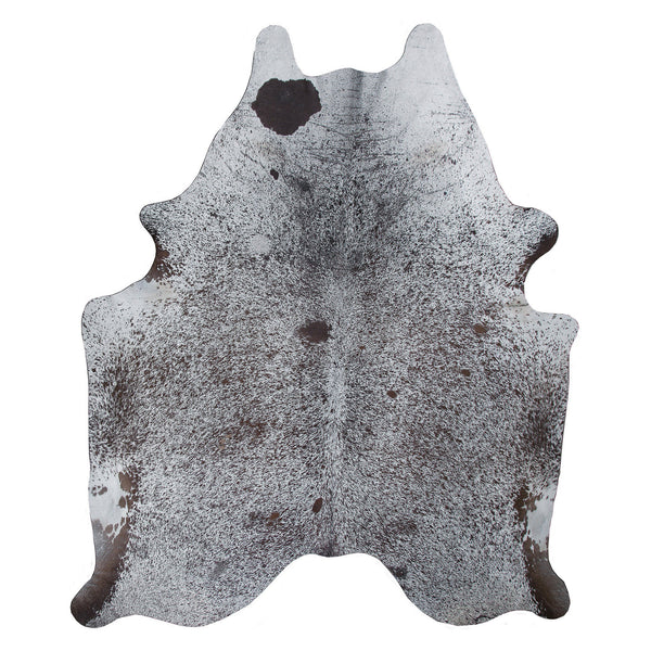 crown and birch salt pepper cowhide rug front