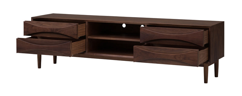 crown and birch Adalyn nuevo media unit walnut open drawer