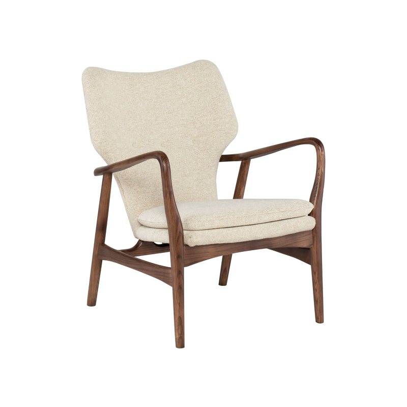 crown and birch chair rosslyn boucle beige wood angle