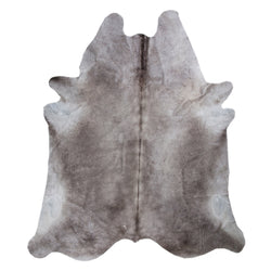 crown and birch grey cowhide rug front
