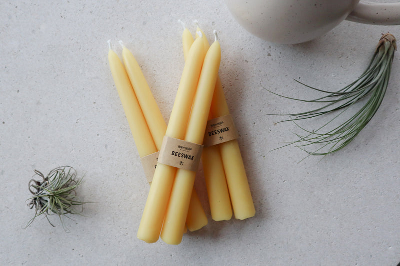 crown and birch classic beeswax tapers angle