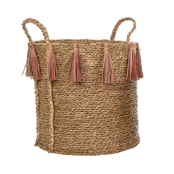 crown and birch pink jute tassel basket indaba detail