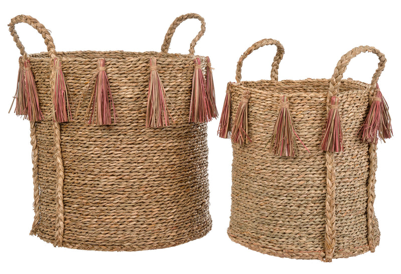 crown and birch pink jute tassel basket indaba front