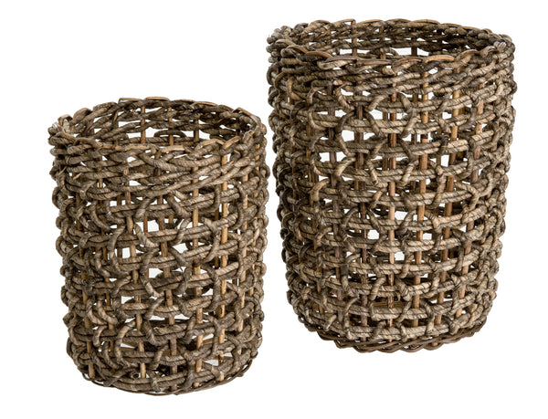 crown and birch dark corn husk basket front