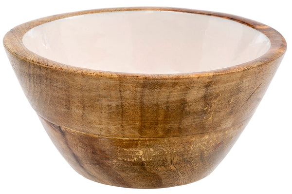 Wood & Enamel Bowl | Cream, Large