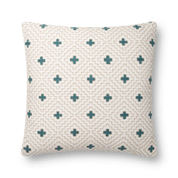 Ivory & Blue Cross Pillow
