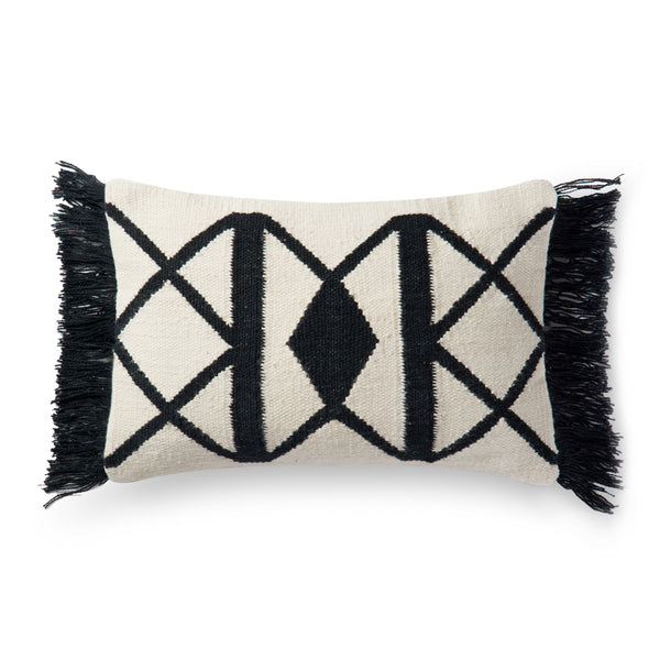 Black & Ivory Pattern Pillow | 13 x 21