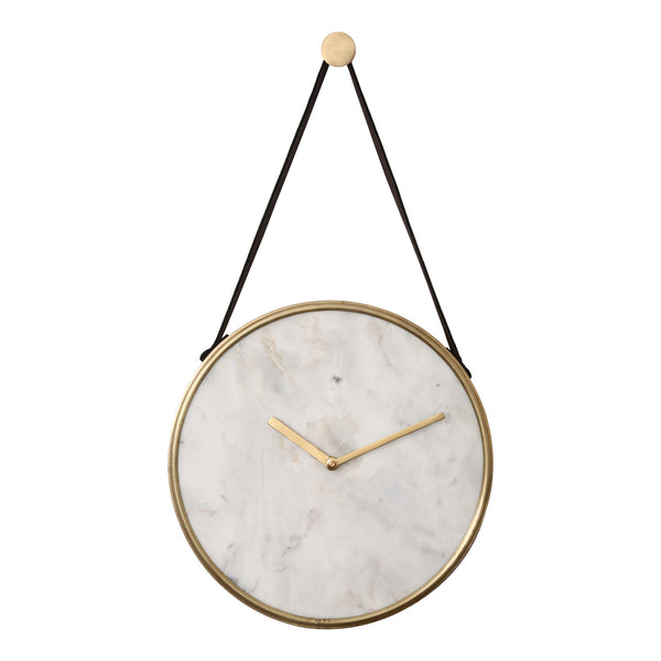 crown and birch white marble wall clock front