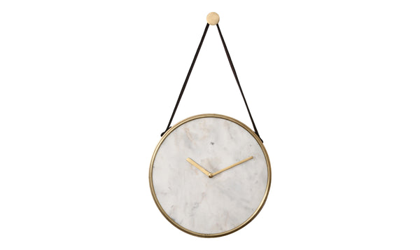 crown and birch white marble wall clock detail