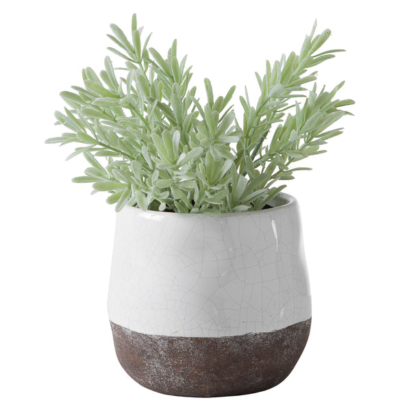 crown and birch corsica ceramic crackle round pot white torre and tagus front