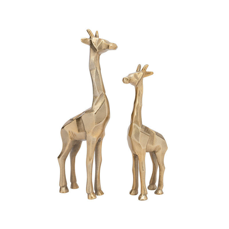 carved aluminum giraffe decor gold front