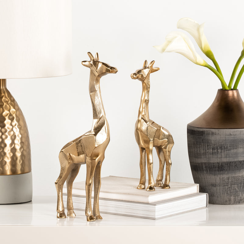 carved aluminum giraffe decor gold staged