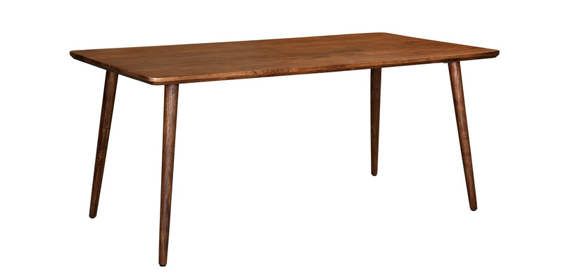 crown and birch acacia walnut rectangle dining table angle