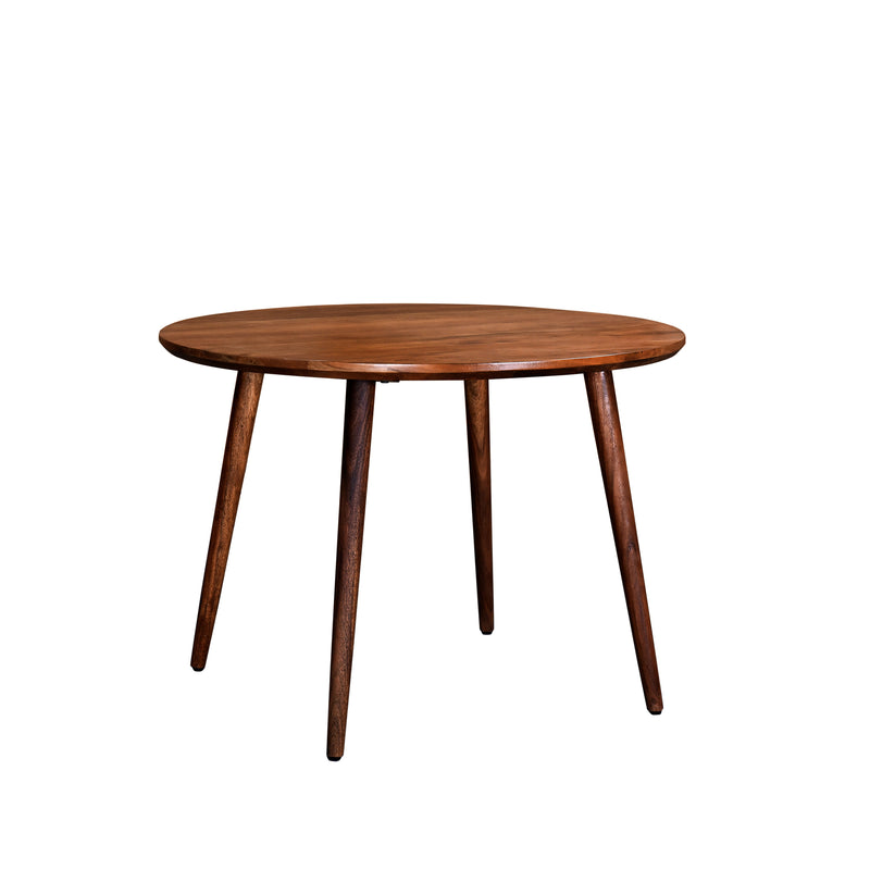 crown and birch acacia walnut round dining table angle