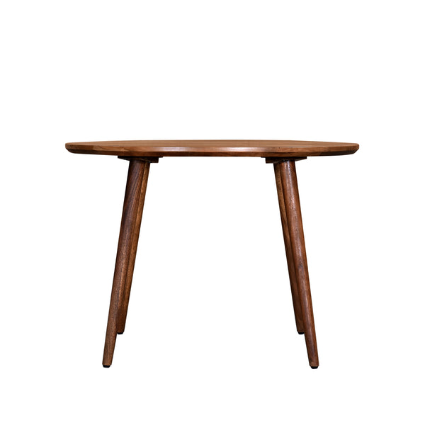 crown and birch acacia walnut round dining table front