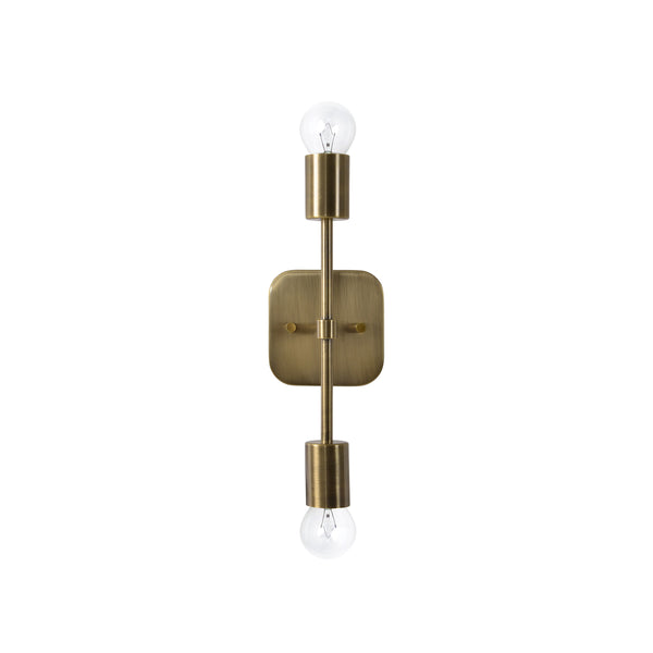 crown and birch alaina sconce bushed brass front