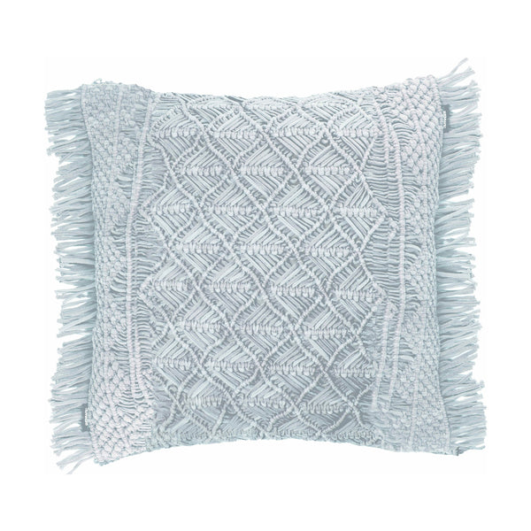 crown and birch alec knit fringe blue pillow front