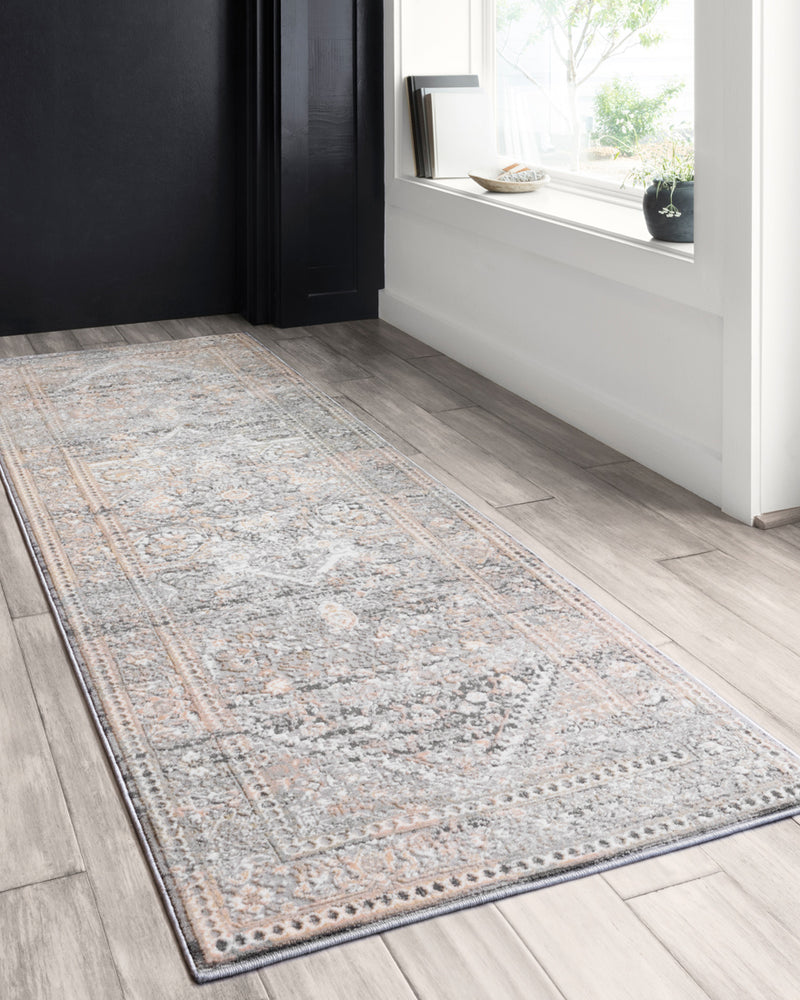 crown and birch alessi rug grey sunset runner scene