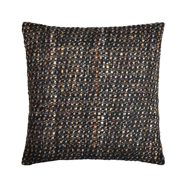 crown and birch arbor black multi knit pillow front
