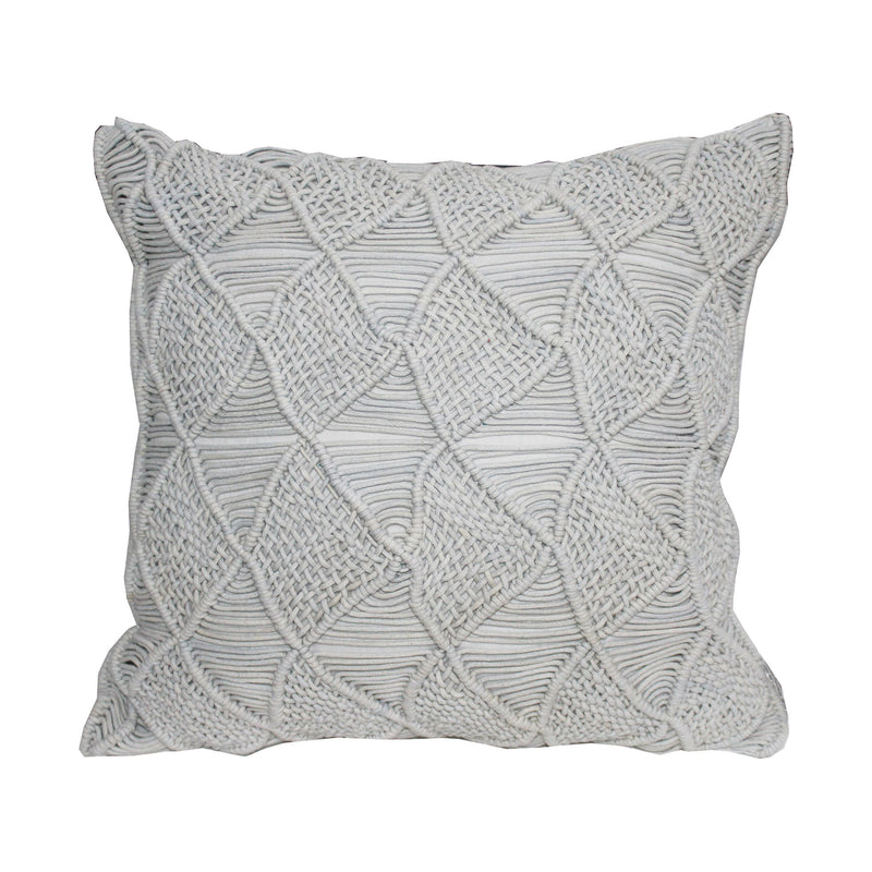 crown and birch aria grey triangle knit pillow front