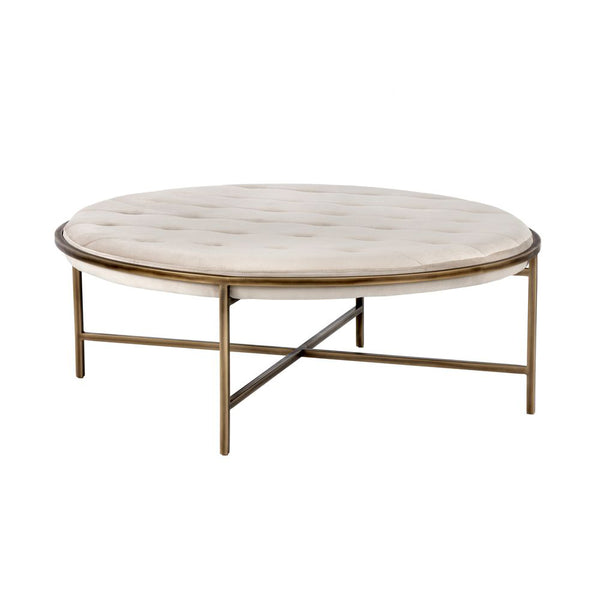 crown and birch axel ottoman coffee table champagne front