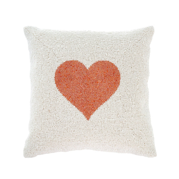 crown and birch beaded heart pillow