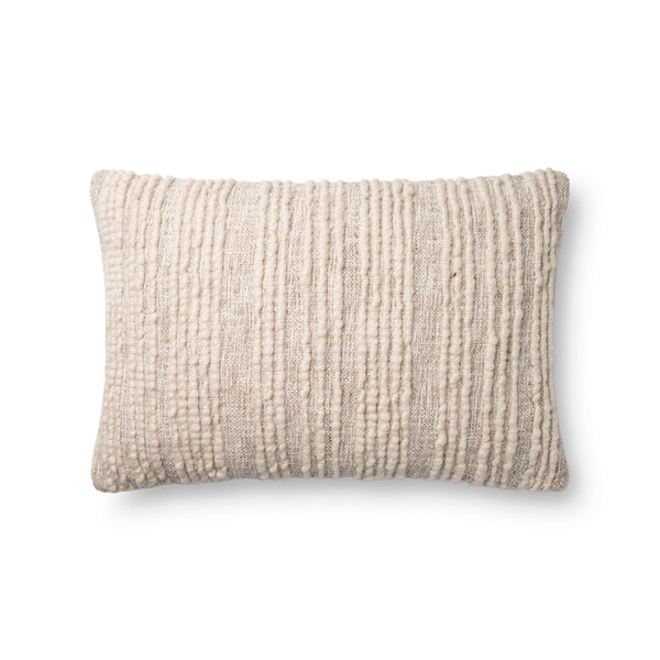 crown and birch beige textured pillow 16x26 front