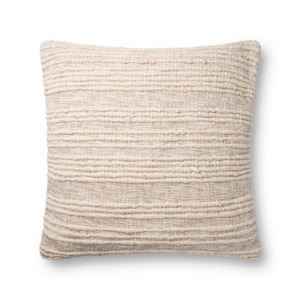 crown and birch beige textured pillow 22x22 front