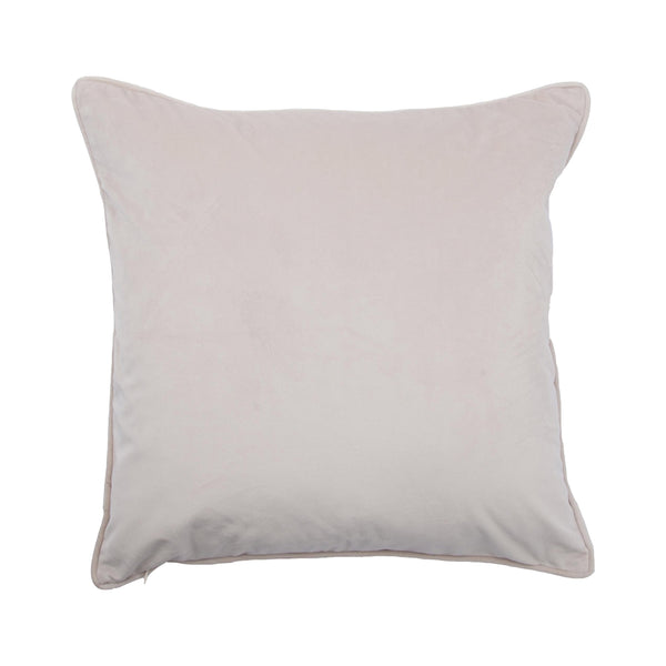 crown and birch bisque cream suede pillow front