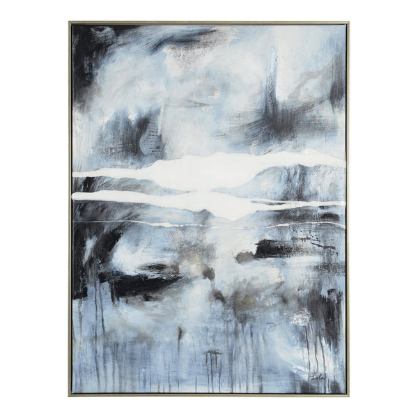 crown and birch blue grey abstract canvas front