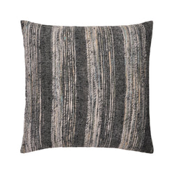 crown and birch bolton grey multi stripe woven pillow front