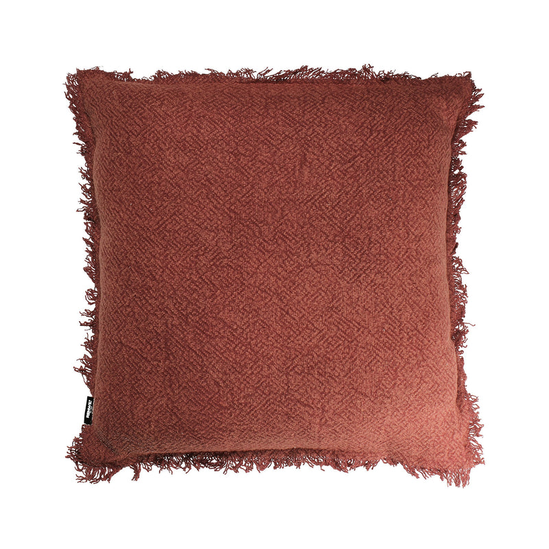 crown and birch brick rust fringe pillow front