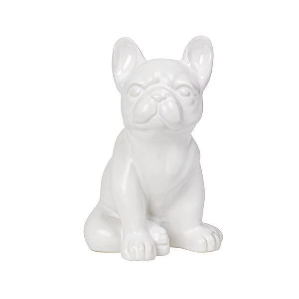 crown and birch bulldog sitting ceramic sculpture front