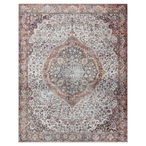 crown and birch claire rug red multi front