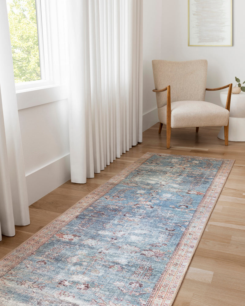 crown and birch claire rug teal multi room two