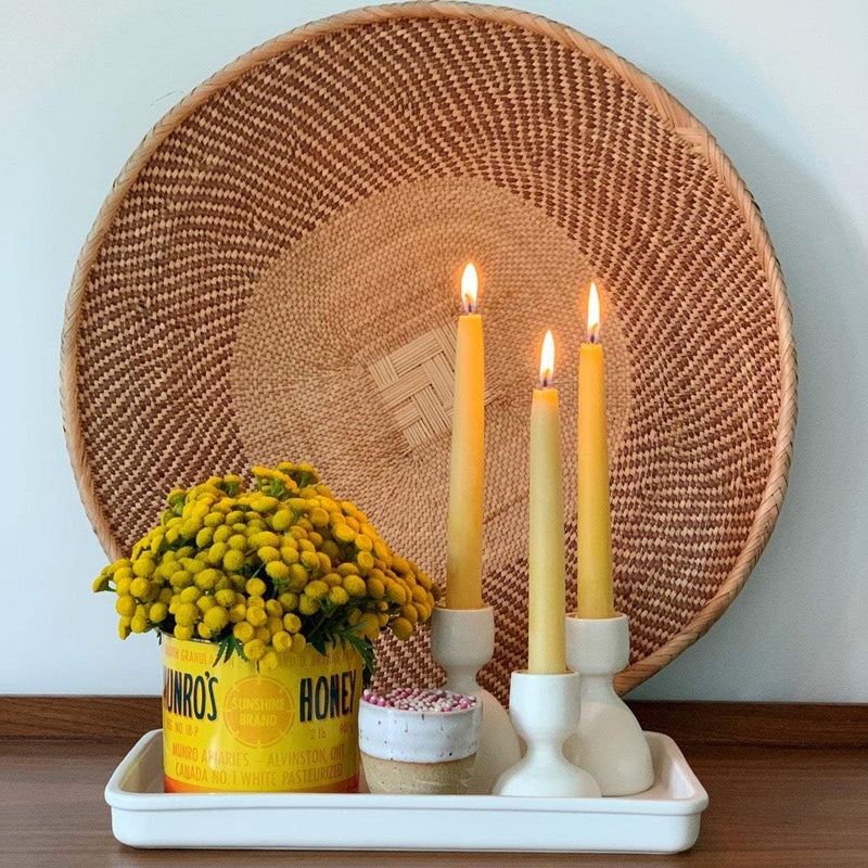 crown and birch classic beeswax tapers display